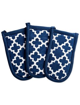 "Dii Cotton Lattice Pan Handle Holders, 6 X 3"" Set Of 3, Machine Washable And Heat Resistant Pan Handle Sleeve For Kitchen Cooking & Baking Nautical Blue by Dii"