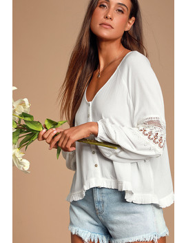Joanie White Crochet Lace Long Sleeve Button Up Top by Lulus