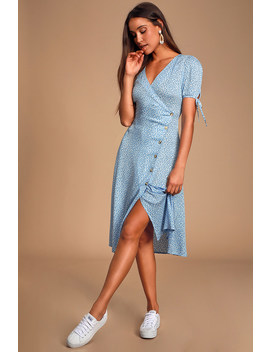 Paria Light Blue Leaf Print Button Up Short Sleeve Midi Dress by Lulus