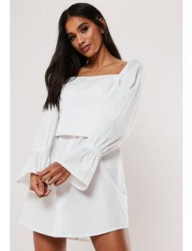 White Poplin Corset Shirt Dress by Missguided