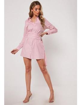 Pink Poplin Belted Shirt Dress by Missguided