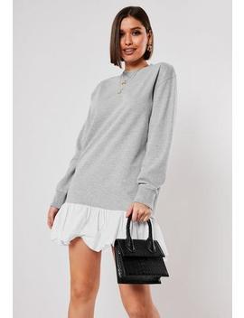 Grey Frill Hem Mini Sweater Dress by Missguided