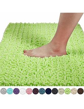 Yimobra Original Luxury Shaggy Bath Mat Large Size 31.5 X 19.8 Inches Super Absorbent Water, Non Slip, Machine Washable, Soft And Cozy, Thick Modern For Bathroom, Bedroom, Floor, Moss by Yimobra
