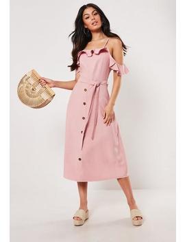 Blush Bardot Ruffle Down Midi Dress by Missguided