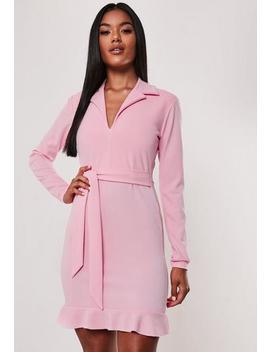 Pink Frill Stretch Tie Waist Blazer Mini Dress by Missguided