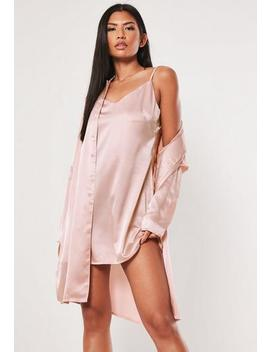 Better Together Pink Cami Duo Satin Shirt Dress by Missguided