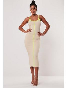 Stone Rib Contrast Piping Strappy Midi Dress by Missguided