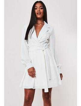 White Belted Waist Pleated Skater Dress by Missguided
