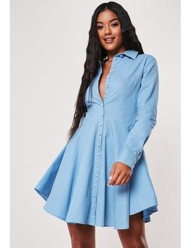 Blue Button Down Skater Shirt Dress by Missguided