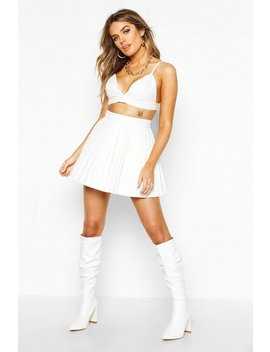 Pleated Leather Look Mini Skirt by Boohoo