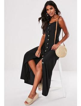 Black Cami Mock Horn Button Maxi Dress by Missguided