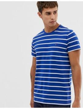 Camiseta Elástica De Corte Slim A Rayas Con Logo De Icono De Bandera En Azul De Tommy Hilfiger by Tommy Hilfiger