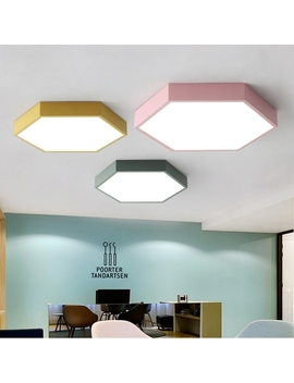 Hexagon Flush Light Colorful Macaron Acrylic Flush Mount Lighting For Bedroom In Warm/White by Beautiful Halo