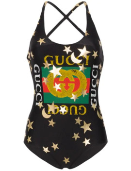 Sparkling Logo Print Swimsuit by Gucci