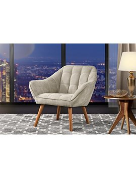 Accent Chair For Living Room, Linen Arm Chair With Tufted Detailing And Natural Wooden Legs (Beige) by Divano Roma Furniture