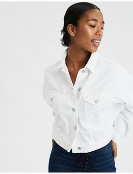 Ae Cropped White Denim Jacket by American Eagle Outfitters