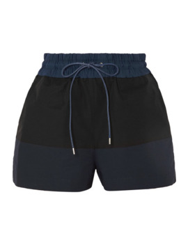 Two Tone Cotton Blend Twill Shorts by Sacai