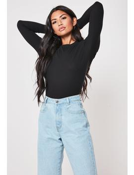 Black Ribbed Crew Neck Top by Missguided
