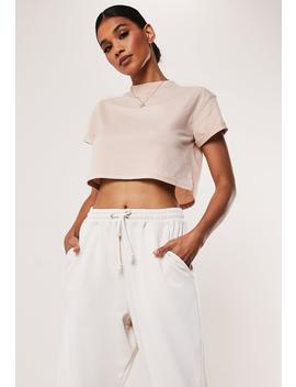 Petite Sand Roll Sleeve Crop Top by Missguided