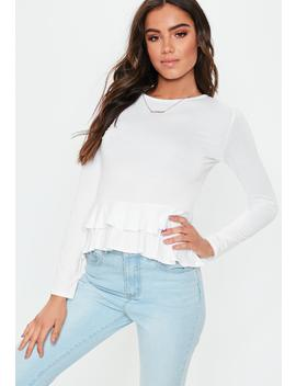 White Basic Long Sleeve Peplum Top by Missguided