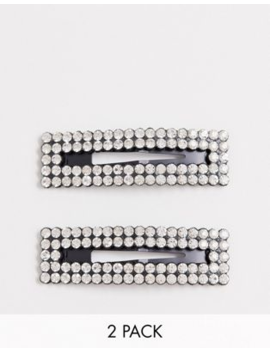 Asos Design Pack Of 2 Large Snap Hair Clips In Crystal by Asos Design