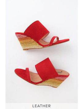 Glorieta Red Suede Leather Espadrille Wedges by Free People