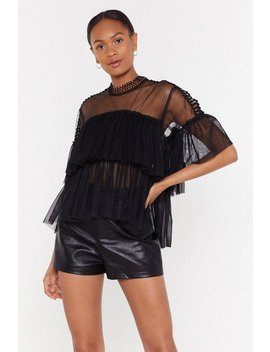 See You Tonight Mesh Tiered Blouse by Nasty Gal