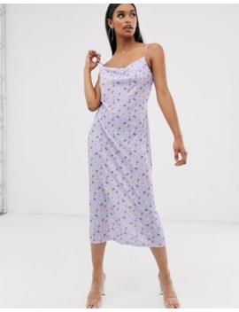 Asos Design Slip Midi Dress In Lilac Ditsy Print by Asos Design