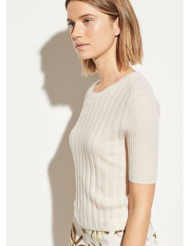 Cashmere Elbow Sleeve Pullover by Vince