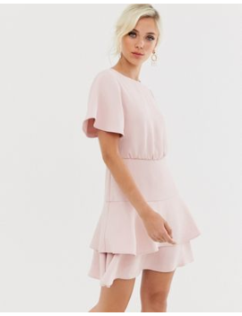 Forever New Tiered Flippy Hem Mini Dress In Blush by Forever New