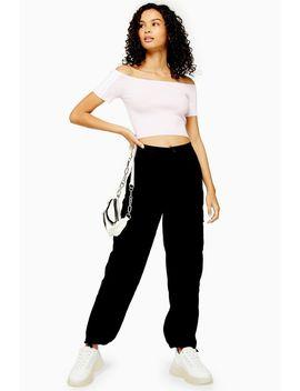 Black Tie Hem Utility Trousers by Topshop