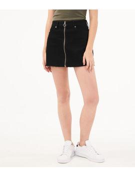 Real Denim Zip Front Black Wash Mini Skirt by Aeropostale
