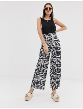 Asos Design Textured Wide Leg Trousers With Paperbag Waist And Rope Belt In Zebra Print by Asos Design