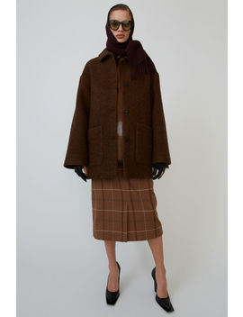 Oversized Short Coat Dark Brown/Multi by Acne Studios