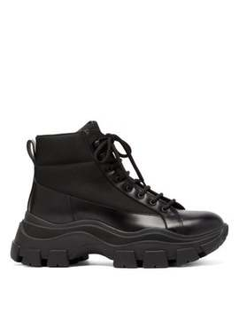 Canvas Panelled Leather Boots by Prada