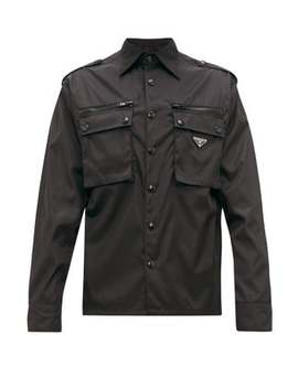 Logo Plaque Nylon Gabardine Shirt by Prada