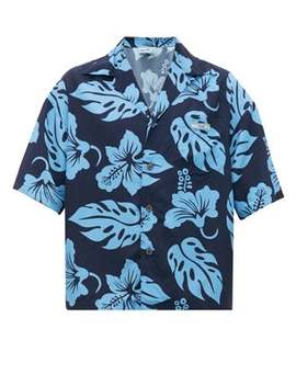 Floral Print Cuban Collar Shirt by Prada