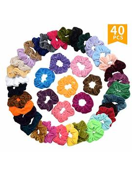 40 Pcs Premium Korean Velvet Hair Scrunchies Hair Bands Scrunchy Hair Ties Ropes Ponytail Holder For Women Or Girls Hair Accessories (40 Pcs Premium Korean Velvet Hair... by Seven Style