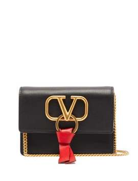 V Ring Leather Cross Body Bag by Valentino