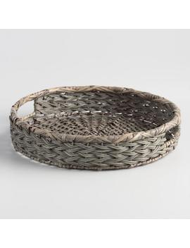 Round Gray Natural Fiber Serving Tray by World Market