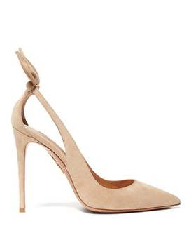 Deneuve 105 Bow Suede Pumps by Aquazzura