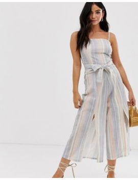 Influence Jumpsuit With Tie Waist In Stripe by Jumpsuit