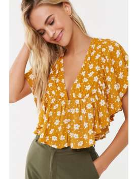 Floral Butterfly Sleeve Top by Forever 21