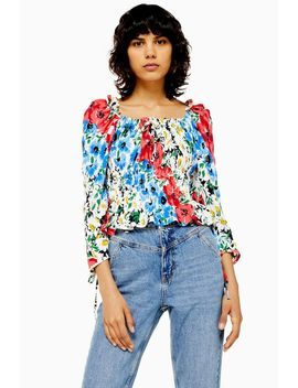 Vancouver Floral Ruched Prairie Blouse by Topshop