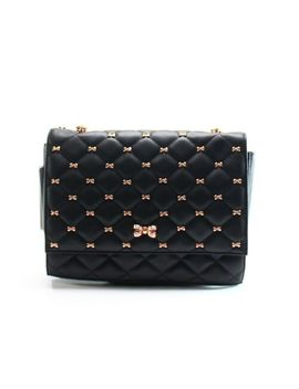 Ted Baker Black Bow Quilted Leather Briiana Chain Shoulder Bag Purse $349 #056 by Ted Baker