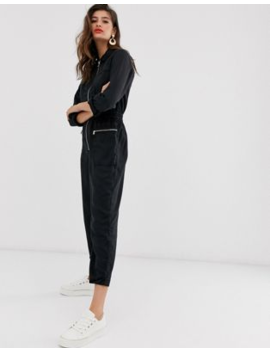 River Island Denim Boilersuit With Zip Pockets In Black by River Island