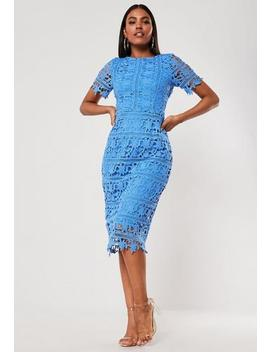 Blue Crochet Lace Open Back Midi Dress by Missguided