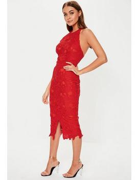 Red Lace Halterneck Midi Dress by Missguided