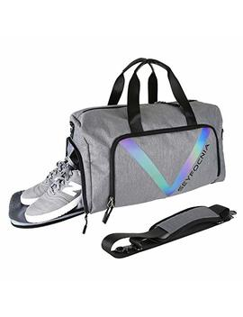 Sports Gym Bag With Shoe Pouch, Waterproof Weekender Bag Overnight Duffle Bag For Mens Or Women Grey by Seyfocnia