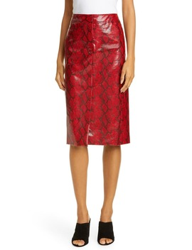 Faux Snakeskin Pencil Skirt by Tibi